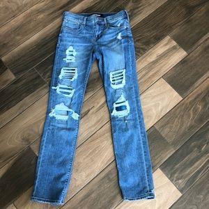 Express distressed skinny denim jeans 2